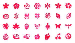 ミニ文字スタンプセット「お花と虫さん」(こどものかお)