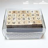 ミニ文字スタンプセット「丸ゴシック体風アルファベット大文字」(こどものかお)
